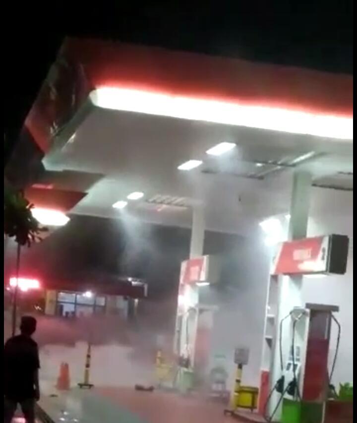 SPBU Sleko Tuban Mendadak Terbakar,Tampa Tau Penyebabnya